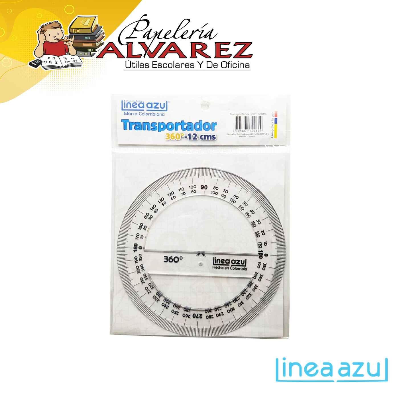 TRANSPORTADOR LINEA AZUL 180º 12CMS