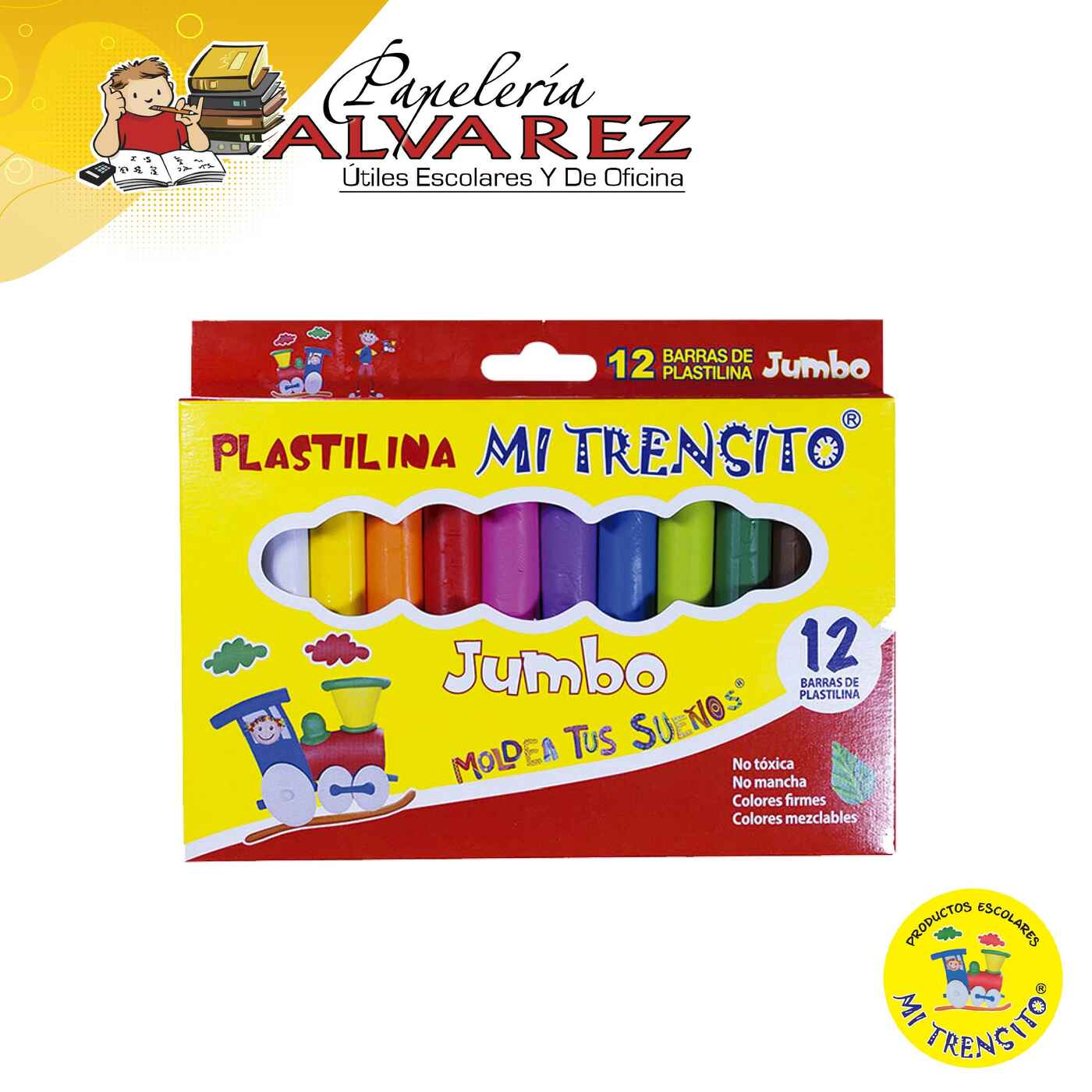 PLASTILINA MI TRENSITO JUMBO X 12 COLORES