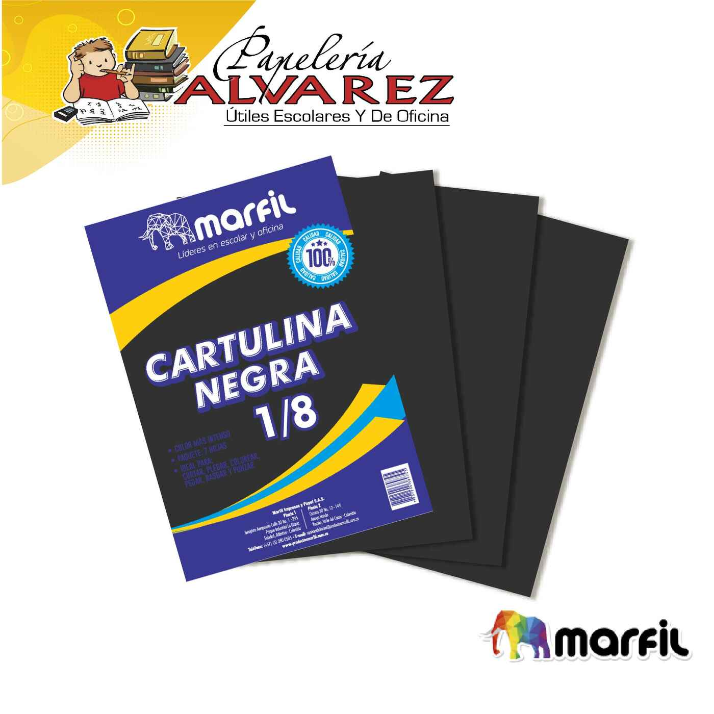 CARTULINA NEGRA MARFIL 1/8 X 7