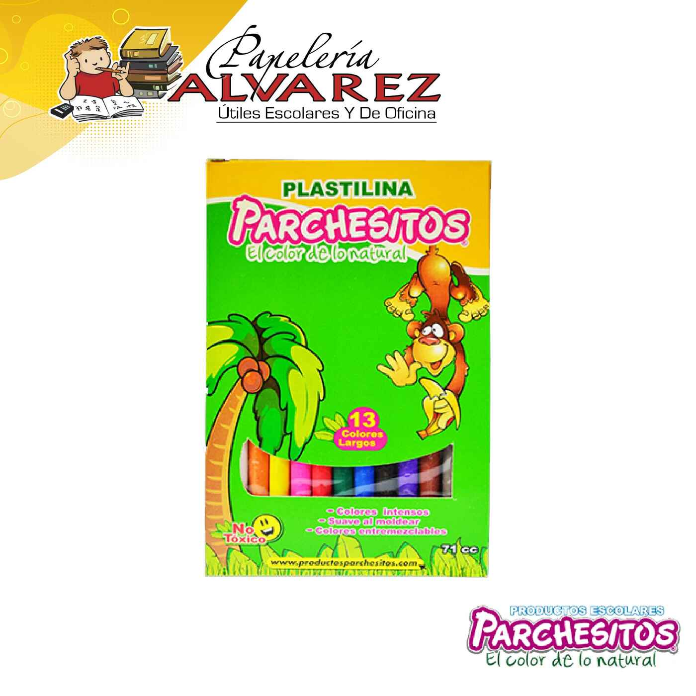 PLASTILINA PARCHESITOS LARGA X 13