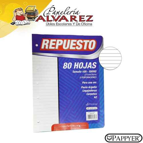 REPUESTO FOLDER 105 RAYAS - 80 HOJAS
